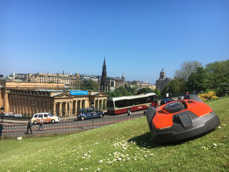 Robotic mowers in an urban park (credit: Husqvarna)