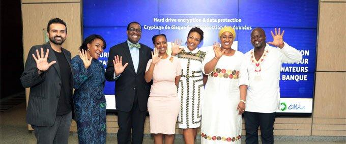 Left to right: Ashish Thakkar, Adaobi Osakwe, President Akinwumi Adesina, Clarisse Iribagiza, Vanessa Moungar, Oley Dibba-Wadda, Mamadou Touré (crédit: AfDB)
