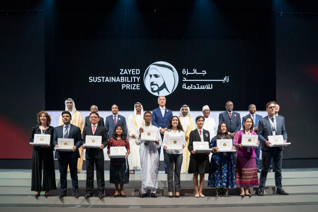 His Highness Sheikh Mohamed bin Zayed Al Nahyan, Crown Prince of Abu Dhabi and Deputy Supreme Commander of the UAE Armed Forces, and His Highness Sheikh Mohammed bin Rashid Al Maktoum, Vice President, Prime Minister and Ruler of Dubai, alongside leaders and representatives from the winners' countries, presented awards to the 10 winners of the 2019 Zayed Sustainability Prize. Credit: Zayed Sustainability Prize