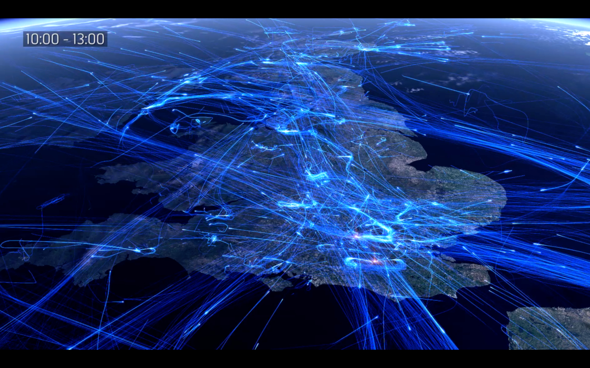 UK Air traffic visualisation (credits: NATS - UK air traffic control / Flickr Creative Commons Attribution-NonCommercial-NoDerivs 2.0 Generic (CC BY-NC-ND 2.0))