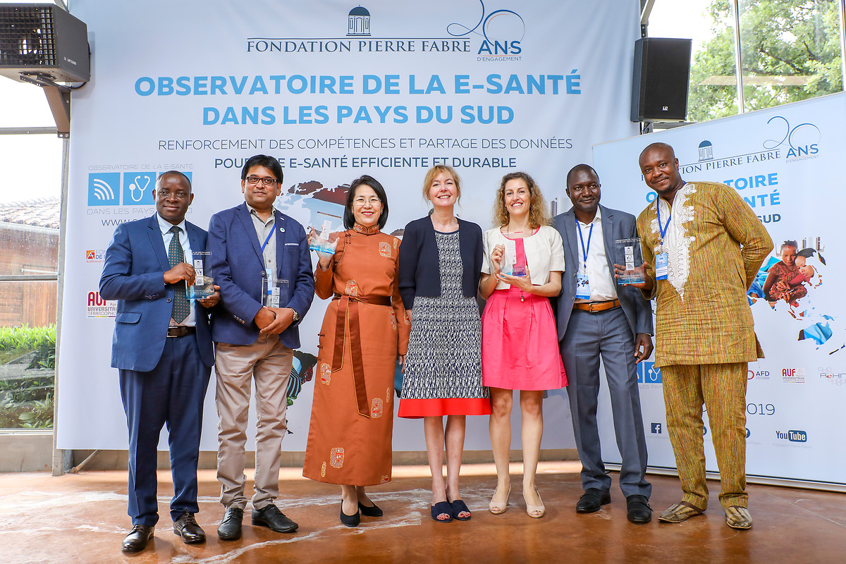 The five 2019 laureates of the Observatory (credits: the Global South eHealth Observatory / the Fondation Pierre Fabre)