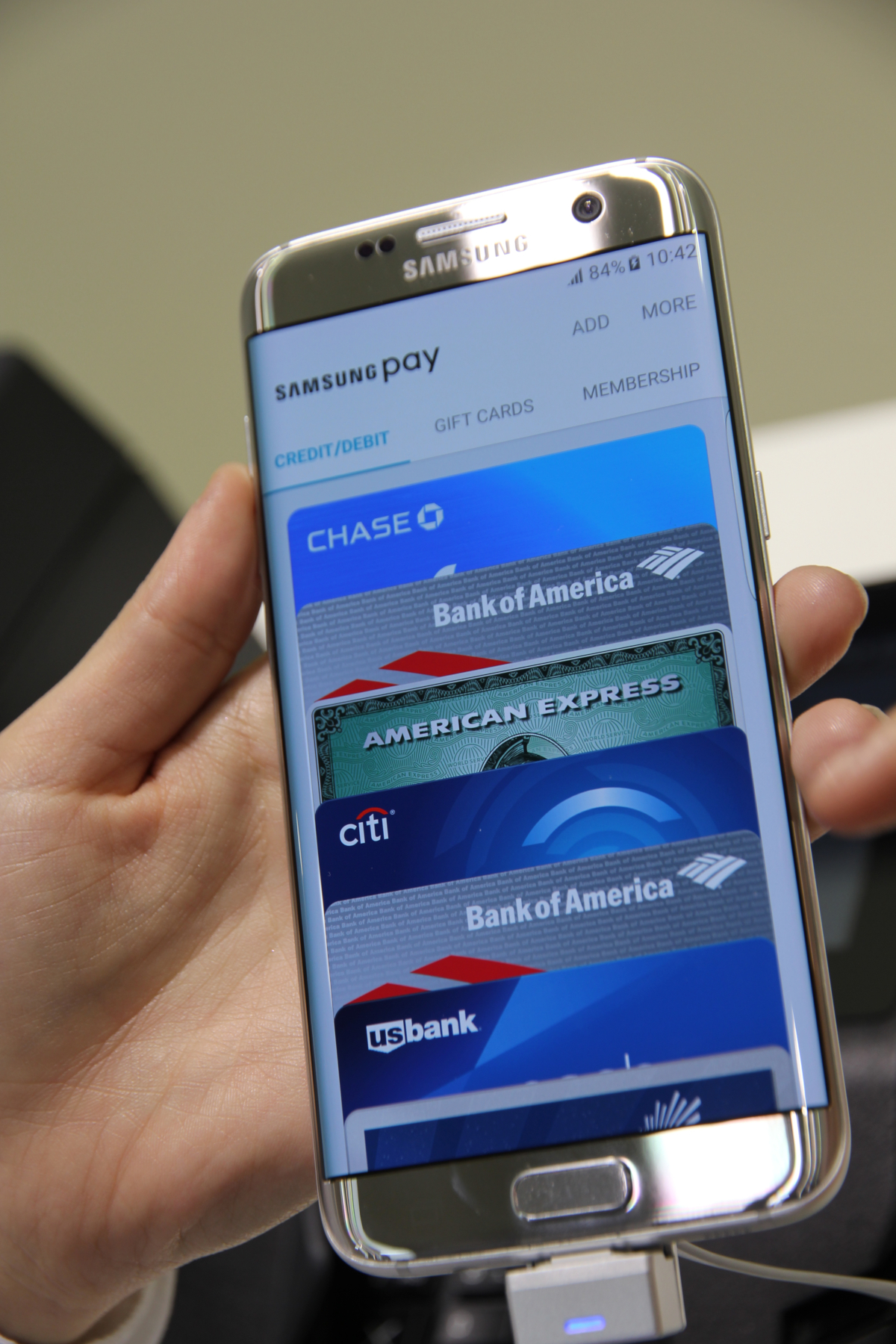 Samsung Pay app presented at Mobile World Congress 2016, Barcelona (credits: Pierre Metivier / Flickr Creative Commons Attribution-NonCommercial 2.0 Generic (CC BY-NC 2.0))
