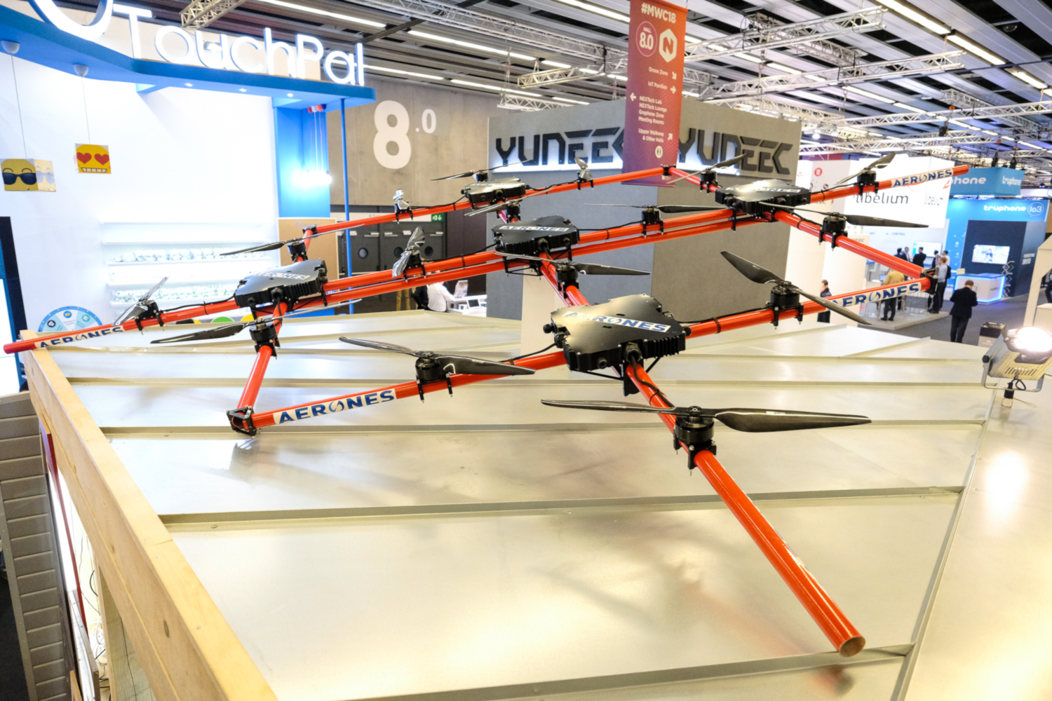 Aerones drone https://www.aerones.com/ presented at Mobile World Congress 2018, Barcelona, Spain (credits: Kārlis Dambrāns / Flickr Creative Commons Attribution 2.0 Generic (CC BY 2.0))