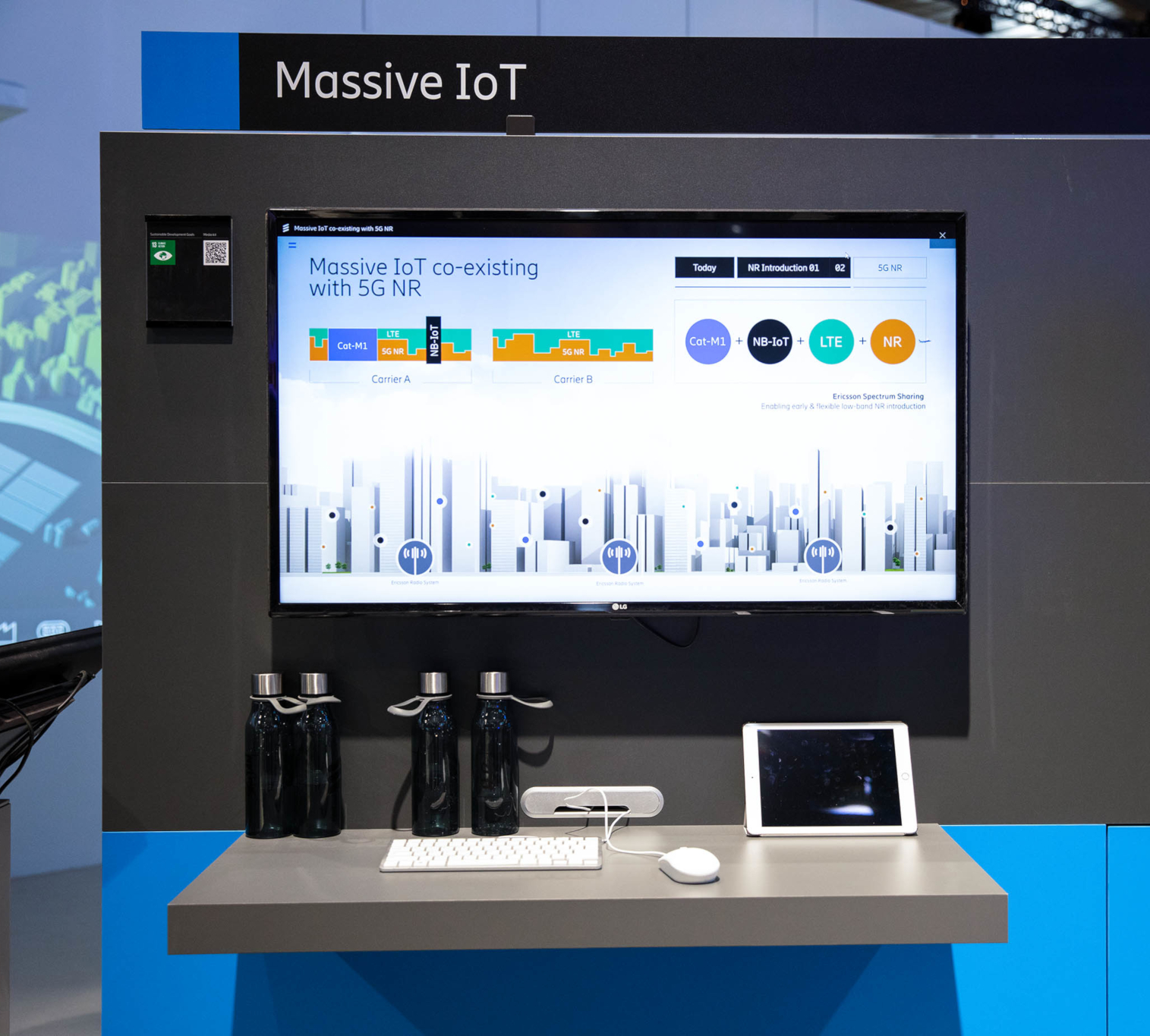 Ericsson Massive IoT Technology co-existing with 5G NR presented at MWC 2019 (credits: Ericsson / Flickr Creative Commons Attribution-NonCommercial-NoDerivs 2.0 Generic (CC BY-NC-ND 2.0))