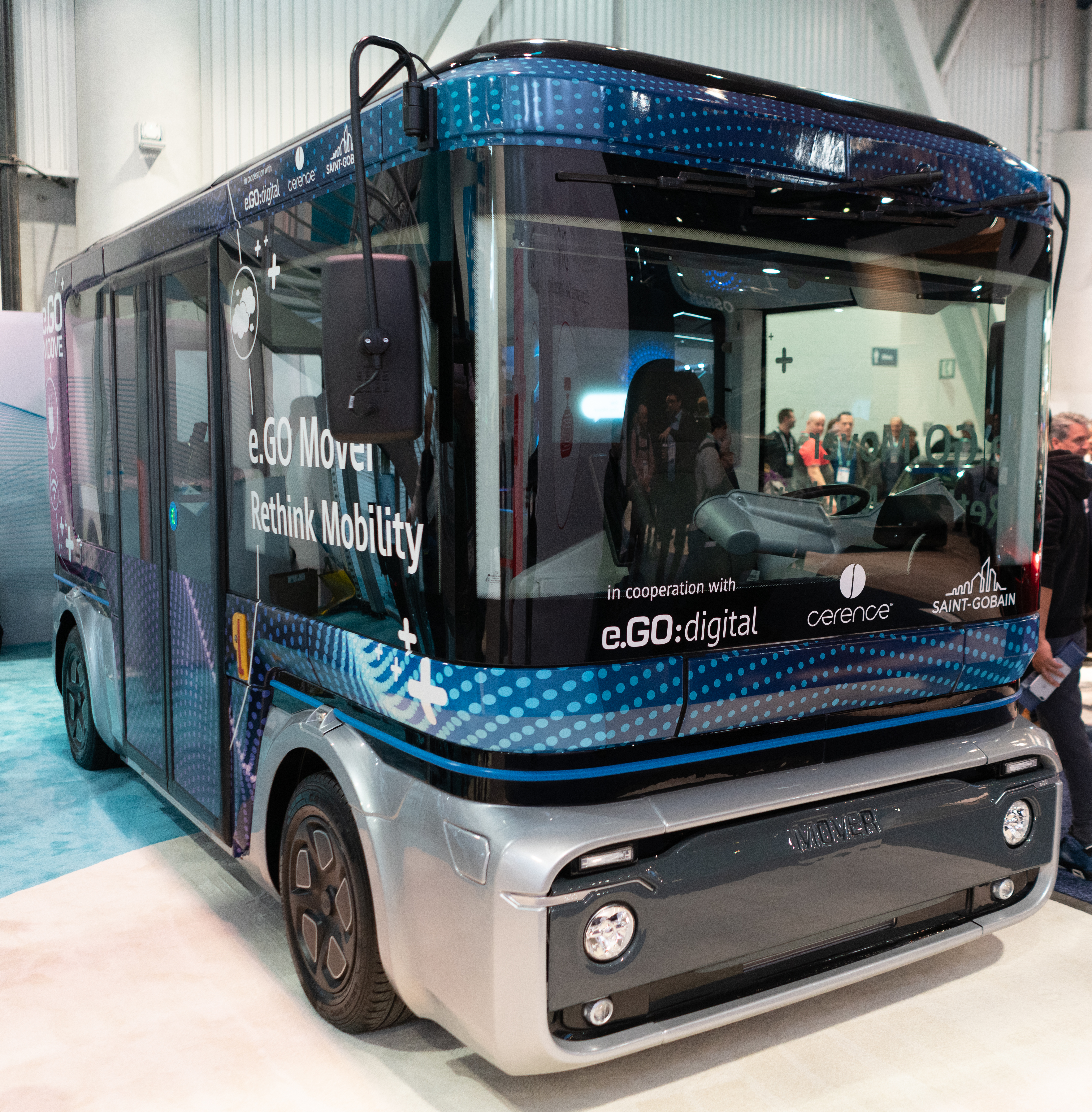e.GO, a fully autonomous electric bus presented at CES 2020 (credits: Duncan Rawlinson - Duncan.co https://duncan.co/ces/ / Flickr Creative Commons Attribution-NonCommercial 2.0 Generic (CC BY-NC 2.0))